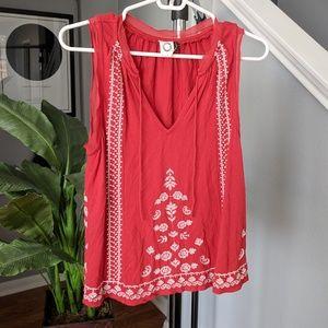 Anthropologie embroidered boho sleeveless blouse
